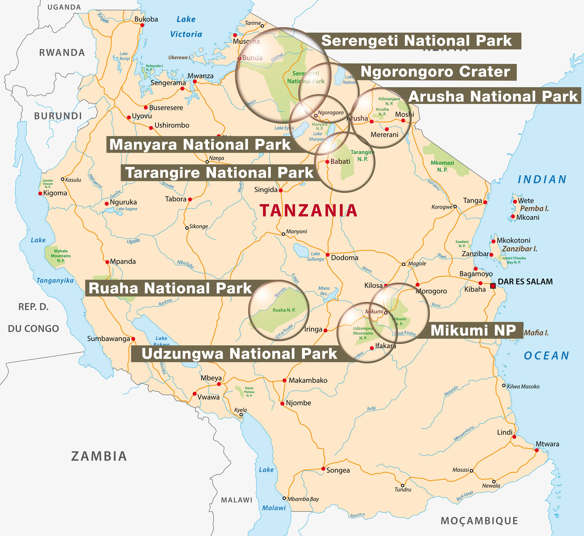 Impressions of the national parks and wild reserves in Tanzania
