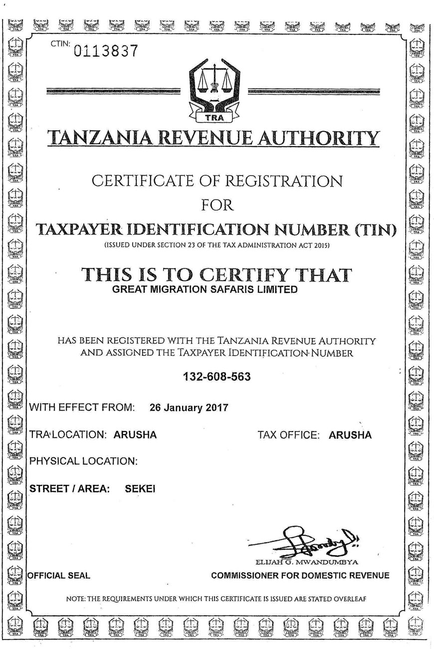 Great migration safaris tanzania tours at its best certificate of incorporation certificate of incorporation certificate of incorporation xflitez Gallery